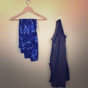 NWOT Nike Dri-Fit leggings. Geometric blue. S.